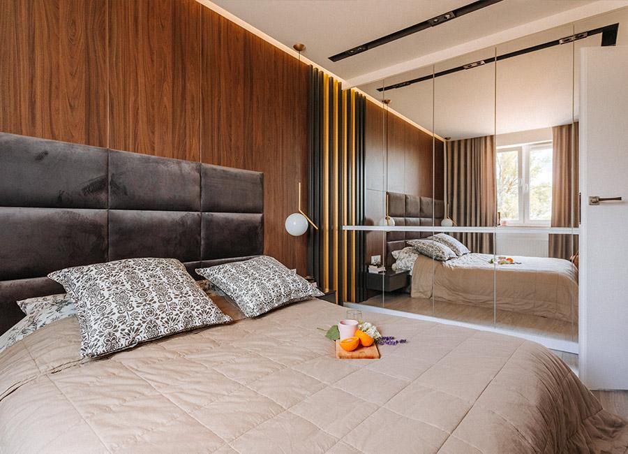 Zabudowa w sypialni - projekt mieszkania w Olsztynie